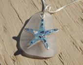 Pink Sea Glass and Abalone Starfish Necklace