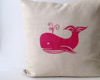 Pillow Cover - Cushion Cover - Whale design- 16 x 16 inches - Choose your fabric and ink color