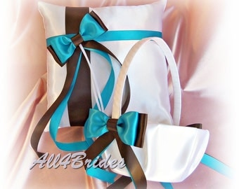 Weddings pillow and basket, chocolate brown and turquoise ring bearer pillow and flower girl basket