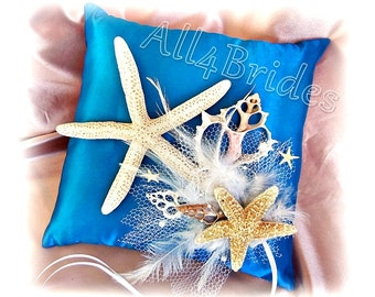 Beach wedding starfish ring bearer pillow, turquoise wedding pillow