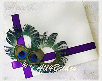 Peacock Wedding Guest Book, Deep Purple Guest Book, Peacock Feathers Weddings Decor