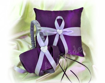 Purple and Lavender wedding ring pillow and basket, ring bearer pillow and flower girl basket wedding accessories