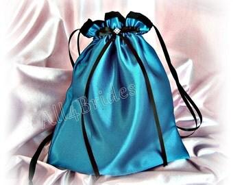 Teal and black wedding dance bag, bridal drawstring bag - wedding bridal accessories