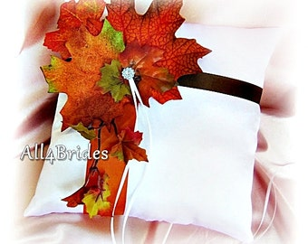 Rustic Wedding Ring Pillow - Fall Leaves Wedding Pillow - Brown and Burnt Orange