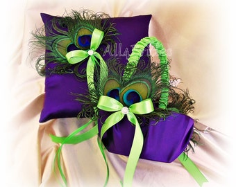 Peacock weddings ring pillow and flower girl basket in purple and limegreen, peacock feathers ring cushion and basket set.