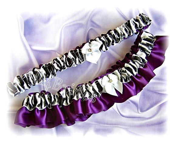 Zebra garter set | zebra weddings | purple and zebra print bridal garter set | animal print weddings