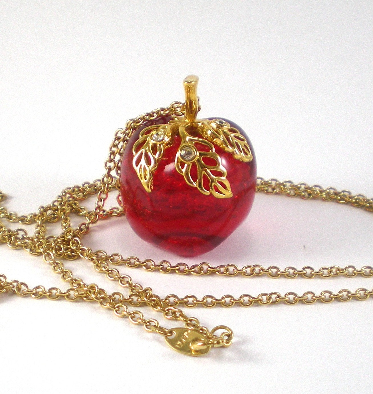 red apple necklace avon vintage jewelry