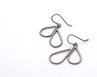 Raindrop Earrings, Sterling Silver Dangle Earrings, Oxidized Silver Earrings, Modern Jewelry, Contemporary Jewelry