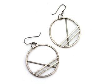 Extra Large Sterling Silver Hoop Earrings, Oxidized Silver Earrings, Striped Statement Earrings, Minimal Earrings, Industrial Jewelry