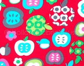 Cotton apple fabric, childrens fabric, kids fabric, Dutch fabric, red fabric, extra wide fabric, Apples in Red