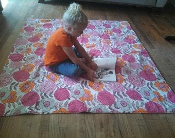 Waterproof Baby Play Mat or PICNIC BLANKET - 60 x 70 - Pink Orange Grey Flowers