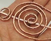 Copper HAIR Barrette Pin, Oval Egg Pin, Barrette Hair Pin -  Shawl Closure Pin.