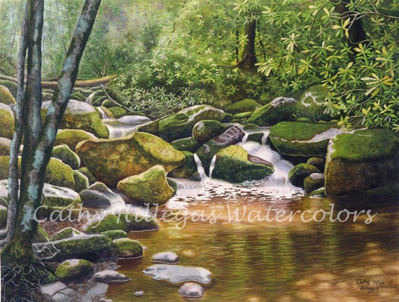 Roaring Fork Smoky Mountains Art Watercolor Landscape