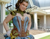 "Goddess of Gears ""S"" curve Corset. Silk and faux leather applique with plunging sweetheart front"