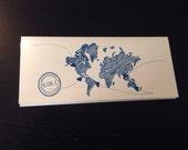 Boarding Pass Invitation DEPOSIT: World Map Airplane Design