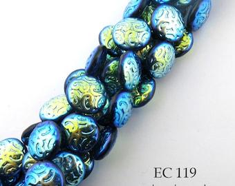 14mm Brocade Coin Beads Czech Glass Peacock Blue AB (EC 119) 6 pcs BlueEchoBeads