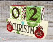 Christmas Advent Calendar, Christmas Count Down Wooden Blocks Cream Bauble Design