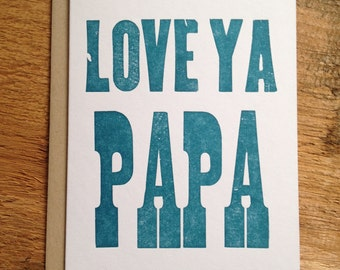 Love Ya Papa Letterpress Card