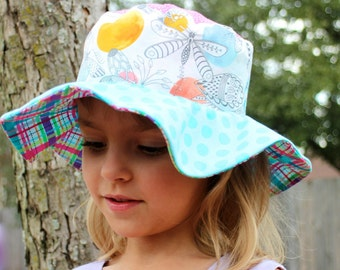 Girl's wide brim sun hat, spring flowers and butterflies, colorful plaid, floppy brim, reversible
