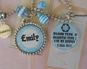 Personalized Blue Medical Alert, Allergy necklace, pendant