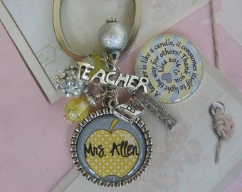 Personalized Yellow and grey chevrons Teacher's Keychain, end of year gifts