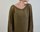 Hand Knit Woman Sweater - Eco Cotton sweater in olive green - ready to ship