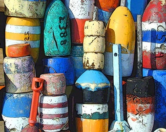 "ROCKPORT Lobster Buoys T-Wharf Cape Ann. 8x10"" Matted Print"