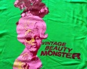 LARGE UNISEX Tshirt by junkhauler Vintage Beauty Monster Zombie Lady Head Vase