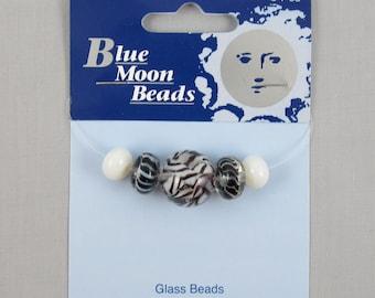 Blue Moon Beads Black & White Glass Beads #FF126