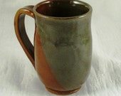 Ceramic Mug Coffee Mug Rusty Red Green Cup Wheel Thrown Ceramics Handmade Stoneware Pottery