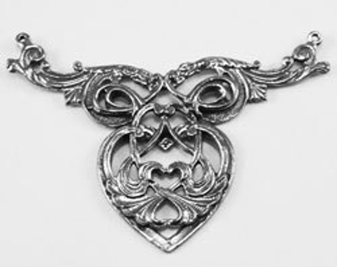 Heart Necklace Piece - 2 bails, Australian pewter.   Z158