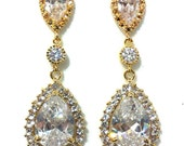 Gold Bridal Earrings, Pave Cubic Zirconia Earrings, Cz Teardrop Jewelry, SONATA