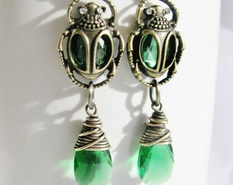 Antique Brass, Emerald Glass, and Emerald Swarovski Crystal Earrings