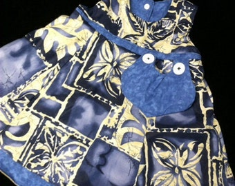 Reversible Cotton blue and beige sundress sizes 1-4 years