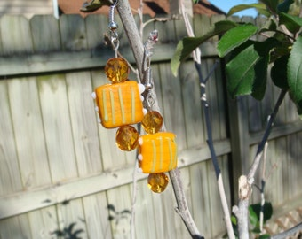 Hand Made Earrings Orange Hand Made Bead with Orange Crystals