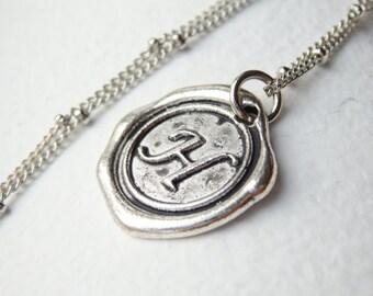 Antique Silver Wax Seal - H - Monogram Necklace