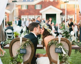 "Featured on BHLDN! Anthro's wedding line. Set of 2 ""his & hers"" mini chalkboard tags. For chair backs, sweetheart table, wedding decoration."