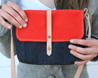 Small Waxed Canvas and Denim Purse with Cross Body Shoulder Strap