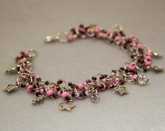 Beaded Bracelet - Silver Links - Celestial Stars Moons Purple Pink by randomcreative on Etsy