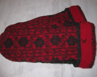 Thumbless Red & Black Sweater Mittens - Adaptive