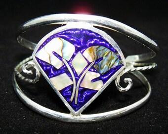 SALE - Last Chance - Vintage Alpaca Silver Inlaid Bracelet