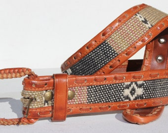 Leather Belt with Tapestry