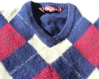 Vintage Argyle Wool Sweater V Neck The Grand Leader Stix Baer and Fuller Men's Medium
