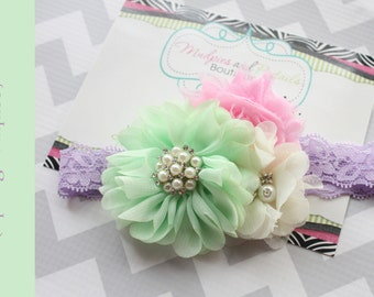 Easter baby Headband { Spring Bouquet } mint, pink, cream lavender, Easter birthday, spring, summer easter baby photography prop