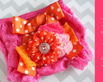 Lace bloomer set { Tangerine Tango } Orange hot pink , Cake Smash Outfit, First Birthday, Summer, Bright Beach photography prop