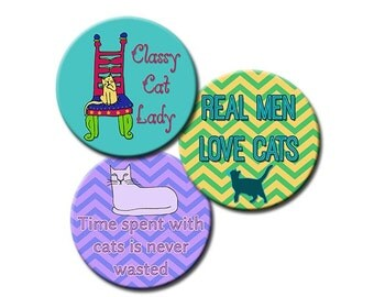Digital Download Cat Lover Sayings 1 Inch Round Images, Clip Art, Crazy Cat Lady, Real Men Love Cats INSTANT DOWNLOAD Help feed rescued cats