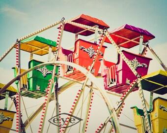 Rainbow Cars Ferris Wheel Fine Art Print- Carnival Art, County Fair, Nursery Decor, Home Decor, Children, Baby, Kids