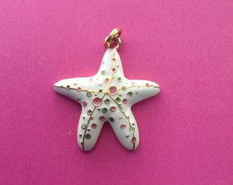 Vintage Starfish Clam Shell Pendant Enamel with Pastel Colors Signed Stocking Stuffer