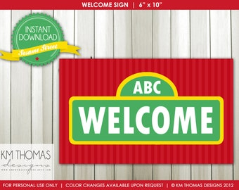 INSTANT DOWNLOAD - Sesame Street Inspired: Welcome Sign - Item 106