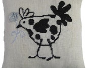 Needlepoint pattern FRENCH HEN - black,cross stitch pattern,french country,burlap pillow,hessian cushion,cross stitch,diy,Anette Eriksson
